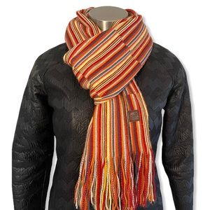 Roots Canada Scarf Multicolor Knit Rainbow Fringe